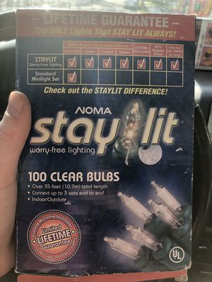 Stay lit 100 clear decorative bulbs lights for Sale in Milwaukee, WI