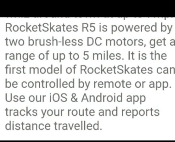 """Rocket Skates r5"" two brush-less DC motors controlled by remote or cell phone"