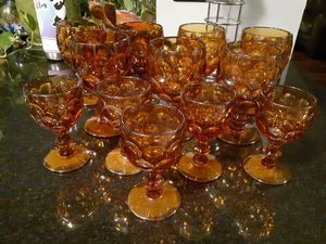 Vintage 1960's Amber Thumbprint Goblets for Sale in Virginia Beach, VA