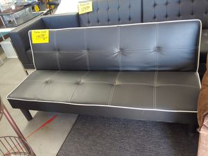 Black and white leather like futon sofa 3-position bag $179.99 for Sale in Phoenix, AZ