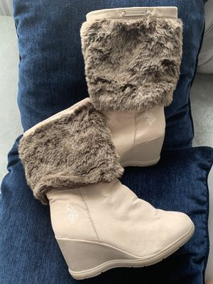 Boots, faux fur boots, u.s.polo boots, wedge heel boots, size 7 for Sale in East Rutherford, NJ