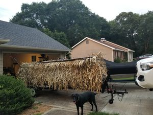 2016 14ft John boat, with duck blind, mud motor, and trailer for Sale in Covington, GA