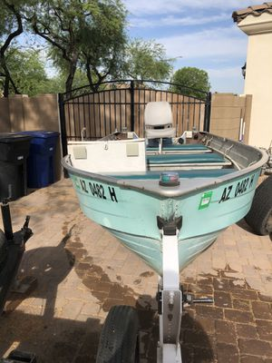 Mirrocraft 14' deep v aluminum boat with 4 hp Johnson motor and 25 hp big twin Evinrude motor and trailer for Sale in Chandler, AZ