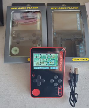New mini pocket game player rechargeable 500 built in games for Sale in Riverside, CA