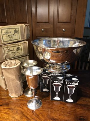 Silver plated wine glasses, cordials, ice bowl for Sale in Topsfield, MA