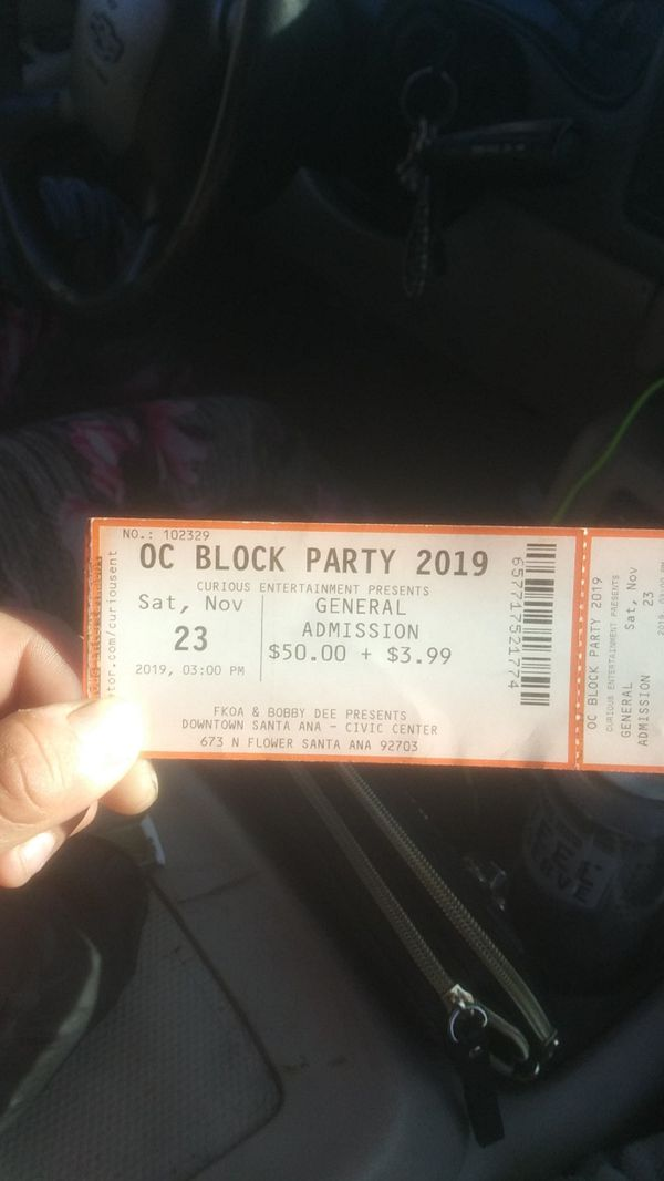 Oc block party ticket