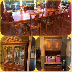 6-per dining room table, China cabinet, & Hutch for Sale in Fort Collins, CO