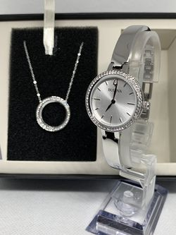 Bulova Stainless Steel Ladies Watch and Crystal Halo Pendant Set for Sale in Allentown,  PA