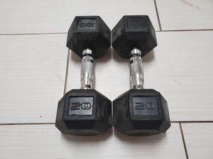 20LB New Rubber Hex Dumbbell Weights Set Of 2 Dumbbells.40lbtotal fast shipping for Sale in Juniper Hills, CA
