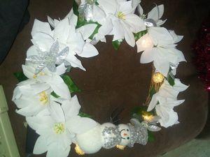 Wreath white snowman (lights up ) for Sale in West Monroe, LA