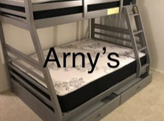 New Grey Wood Twin/Full Bunkbed W/Drawers & New Mattresses for Sale in Fresno,  CA