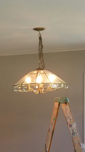 Glass chandelier with gold trim for Sale in Byhalia, MS