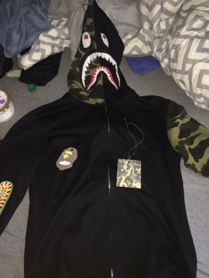 BAPE Shark Full Zip Hoodie Camo Sleeve Black for Sale in Baltimore, MD