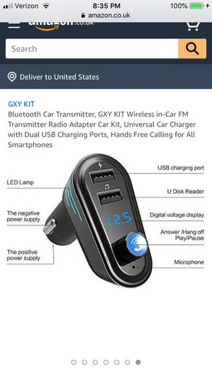 Bluetooth Car Transmitter, GXY KIT Wireless in-Car FM Transmitter Radio Adapter Car Kit, Universal Car Charger with Dual USB Charging Ports, Hands Fr for Sale in Hayward, CA