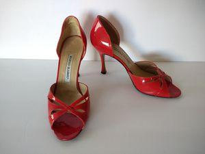Manolo blahnik 37.5, 7 1/2 red leather heels for Sale in Seattle, WA