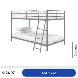 Twin over Twin Bunk Bed Frame (silver) for Sale in Happy Valley, OR