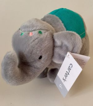 "CARTERS 9"" Gray Circus Elephant Plush Stuffed Toy w/Green & Blue Accents - NEW!! for Sale in Tempe, AZ"