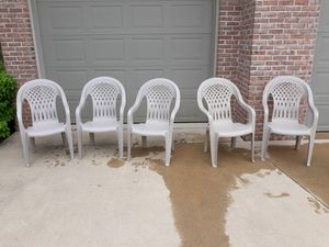 Stackable Resin Stationary High Back Chairs with Solid Seat for Sale in Washington, IL