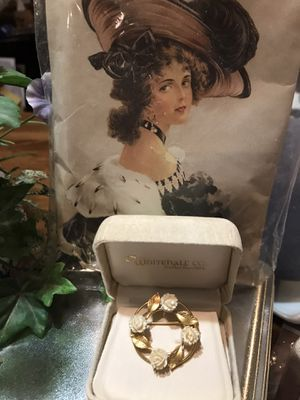 Beautiful! Victorian Gold & ivory Roses pin/brooch for Sale in Gainesville, VA