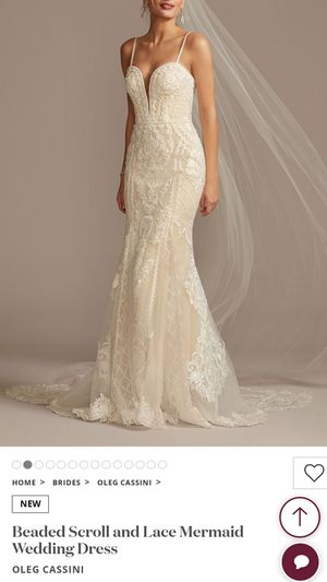Oleg Cassini Mermaid Wedding Dress (Size 6), Ivory, New w/ tags. Also have a 2 tiered veil by Vera Wang for Sale in Los Angeles, CA