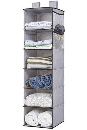 Collapsible Hanging Closet Organizer With Thickened PE Board, Gray, 6 Shelves, 4 Side Pocket, 12x12x42 in for Sale in Abington, PA