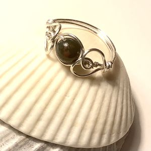 Silver Heart Ring With Bloodstone Gemstone Bead for Sale in Wolcott, CT