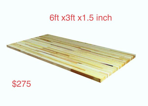 6 ft. L x 3 ft. D x 1.5 in. T Island Butcher Block Countertop in Unfinished Poplar