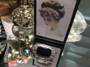 Pretty! Classy Victorian Silver & Black Onyx Stone Pin/Brooch for Sale in Gainesville, VA