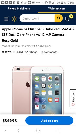 Unlocked iPhone 6s any carrier for Sale in Colton, CA