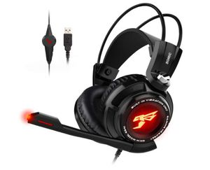 SOMIC G941 Gaming Headset for PS4, PC and Laptop, 7.1 Virtual Surround Sound USB Lightweight Over Ear Headphone with Mic,Volume Control,LED(Black) for Sale in Rancho Cucamonga, CA