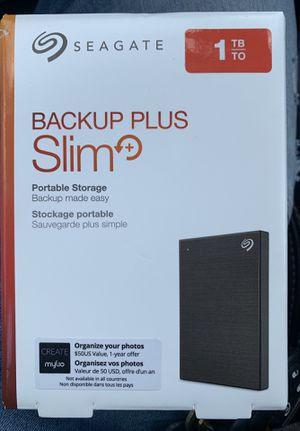 Seagate Backup Plus Slim 1TB USB 3.0/USB 2.0 External Hard Drive, Black (STHN1000400) for Sale in Washington, DC