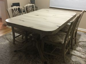Antique Rectangular large table w/Claw feet (table has been made to look distressed) 4 chairs newly reupholstered Early 1900's for Sale in Parma Heights, OH