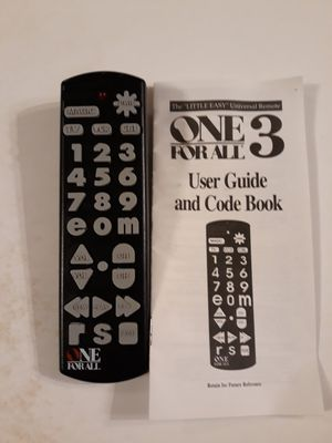 ONE FOR ALL REMOTE WITH USER GUIDE. for Sale in Bolingbrook, IL