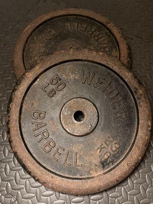 2x Vintage Weider 50lb Standard Barbell Plates for Sale in Atlanta, GA