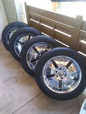 """Used complete set of 20""""inch Motiv 6 lugs Chrome wheels with tires for sale. for Sale in Anaheim, CA"""