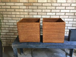 Set woven rattan large bins planters for Sale in Bloomfield Hills, MI