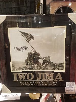 Iwo Jima Photo Signed by Hershel Woody Williams for Sale in Las Vegas, NV