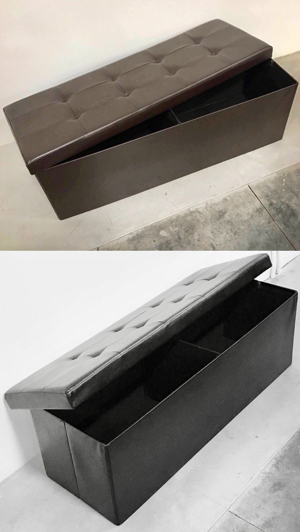 New in box 43x15x15 inches foldable storage ottoman toys clothes storage seating black brown or grey