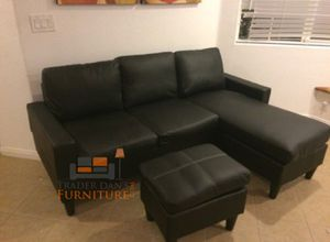 Brand New Black Faux Leather Sectional Sofa Couch + Ottoman for Sale in Arlington, VA