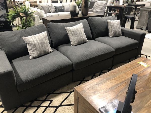 3 PC Sofa Set Luxurious Grey Fabric Tufted Spacial Living Room Sofa Dining Room Sofa Couch Grey Family Room Couch Sofa SPACIAL COMFY COUCH