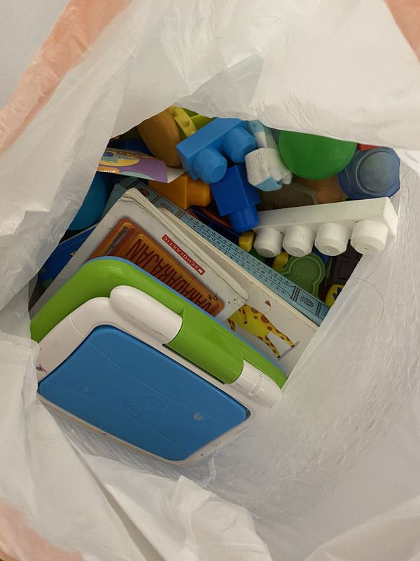 Bags full with toys for toddlers or younger