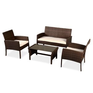 🌄4 Pcs Patio Garden Poolside Porch Backyard Furniture Wicker Rattan Sofa Set for Sale in Burbank, CA