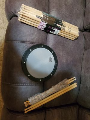 Remo Drum Pad with 11 pairs of sticks for Sale in Knoxville, TN