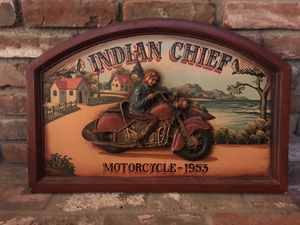 Vintage Wooden 3D Indian Chief Motorcycle Sign for Sale in La Habra, CA