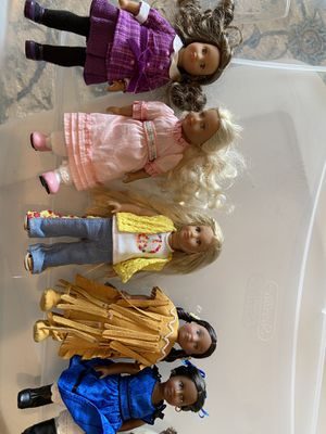 Lot of 5 mini American Girl Dolls with AG cat for Sale in FAIR OAKS, TX
