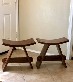 Two beautiful zen styled teak wood shower chairs. Great condition and very sturdy! $100 for both. for Sale in Tolleson, AZ