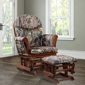 🦌🌿N-E-W-Artiva USA Home Deluxe Camouflage Fabric Cushion Cherry Wood Glider Chair & Ottoman Set for Sale in Columbus, OH