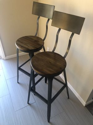 Cost Plus World Market Wooden Seat Hudson Bar Stools for Sale in Castro Valley, CA