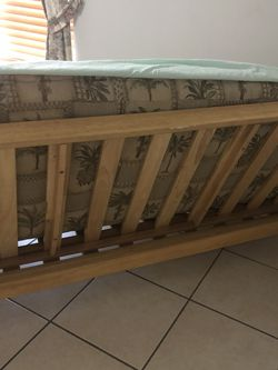 Full Size Wood Futon bed With The Mattress Excellent Condition for Sale in Orlando,  FL