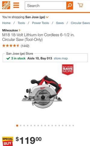 Milwaukee M18 6-1/2 in. Cordless 18 volt Circular Saw Bare Tool 3500 rpm for Sale in Mountain View, CA